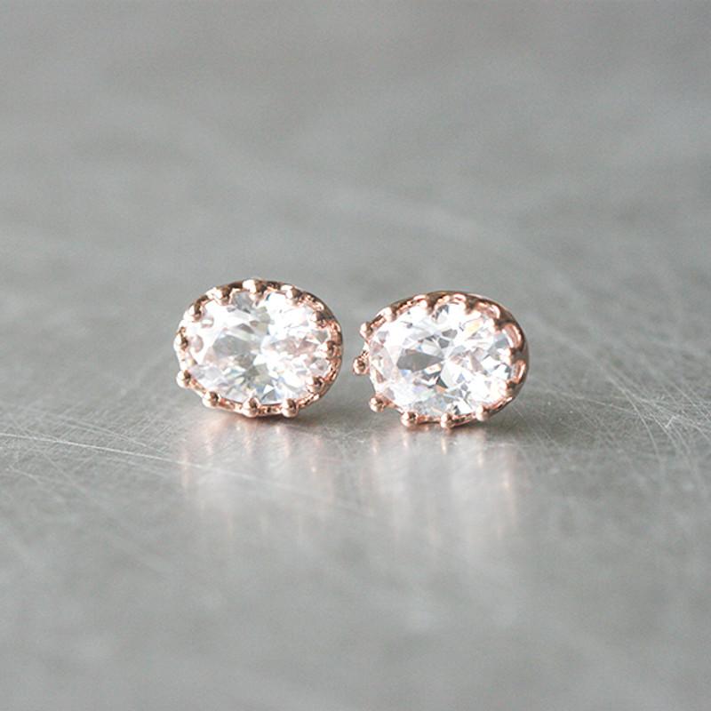 Ellipse Swarovski Rose Gold Stud Earrings from kellinsilver.com