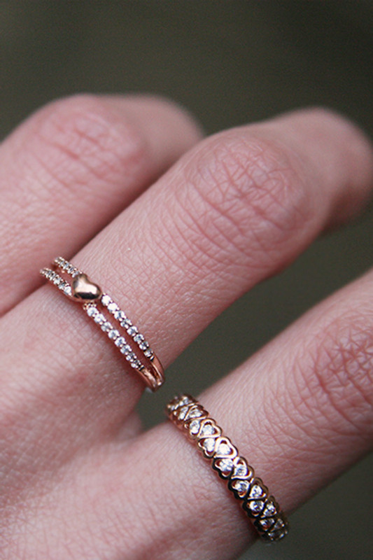 CZ Heart Eternity Band Ring Rose Gold from kellinsilver.com