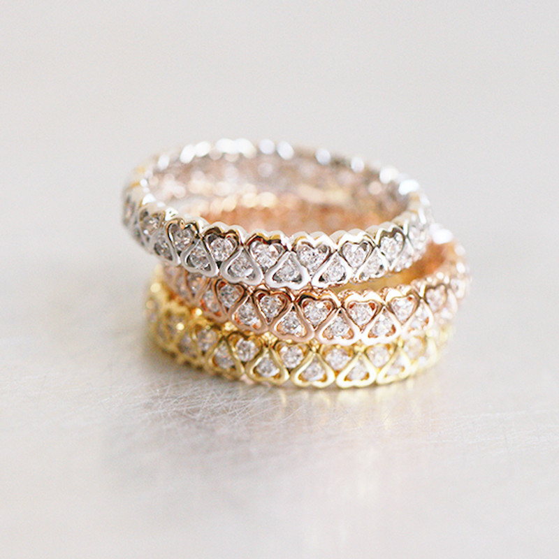CZ Heart Eternity Band Ring White Gold from kellinsilver.com