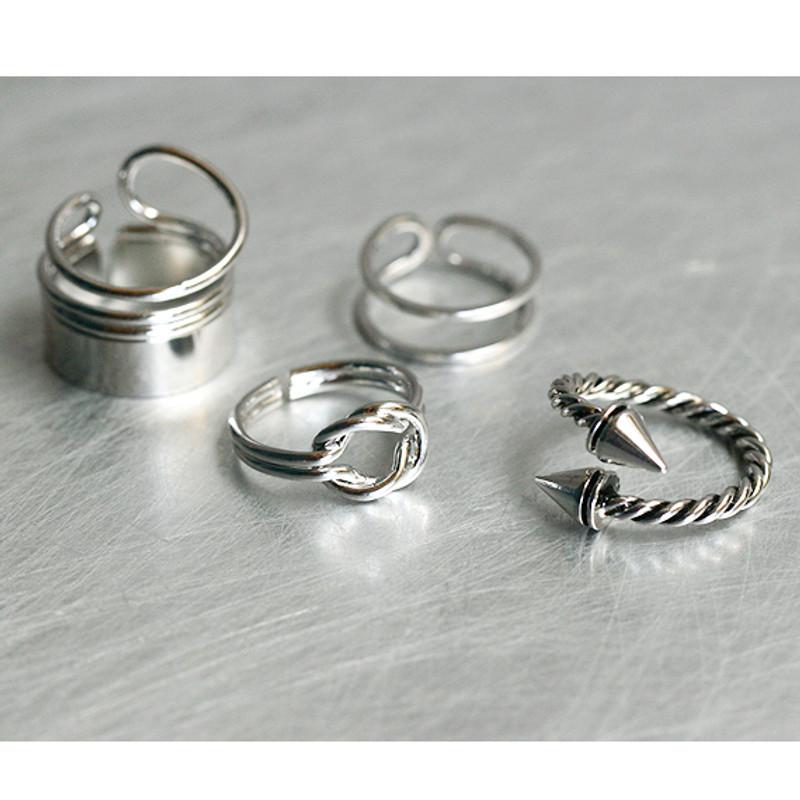 Silver Hardcore Rings Set of 4 from kellinsilver.com