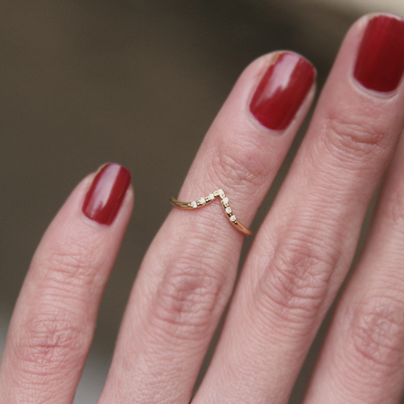 CZ Gold V Midi Ring from kellinsilver.com
