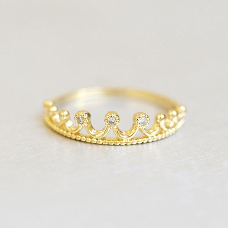 CZ Crown Tiara Ring Gold from kellinsilver.com