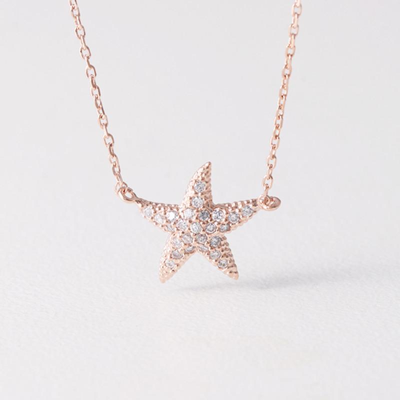 Swarovski Rose Gold Starfish Necklace Sterling Silver from kellinsilver.com