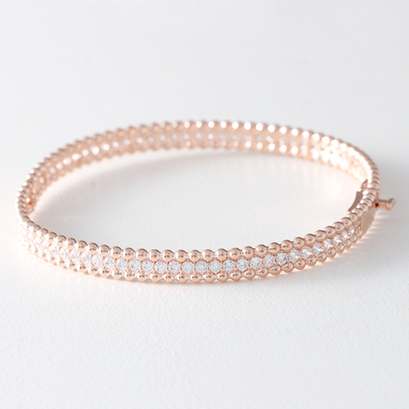 CZ Sterling Silver Perlee Bangle Bracelet Rose Gold from kellinsilver.com