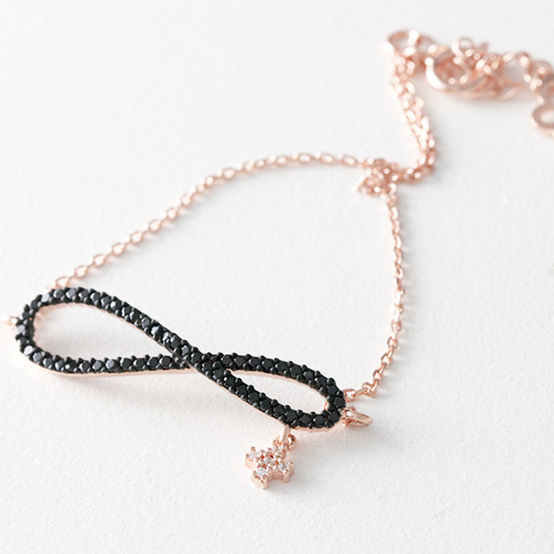 CZ Black Infinity Bracelet Rose Gold in Sterling Silver from kellinsilver.com