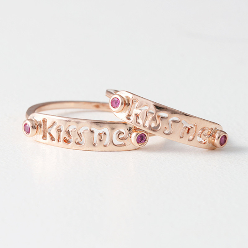 Rose Gold Kiss Me Midi Ring Set of 2 from kellinsilver.com