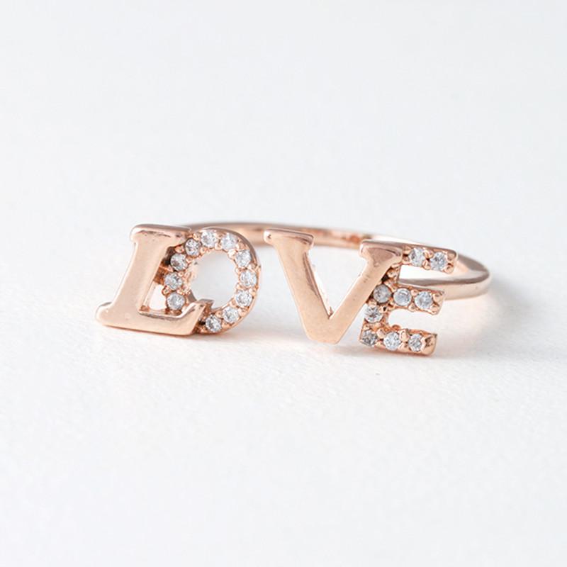 CZ Sparkling Love Ring Rose Gold from kellinsilver.com