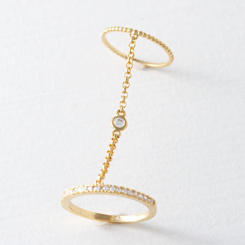 Bezel Two Finger Chain Ring Gold from kellinsilver.com