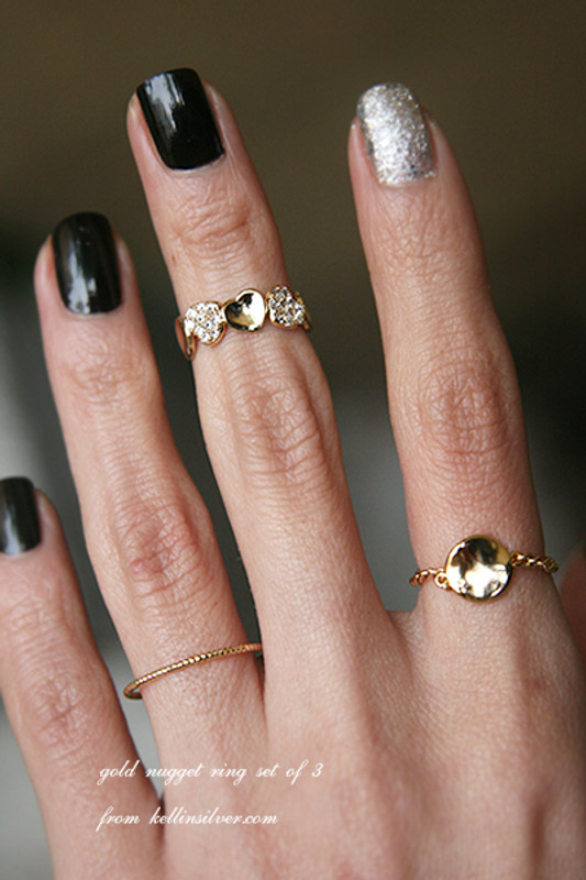 Gold Nugget Ring Set of 3 from kellinsilver.com