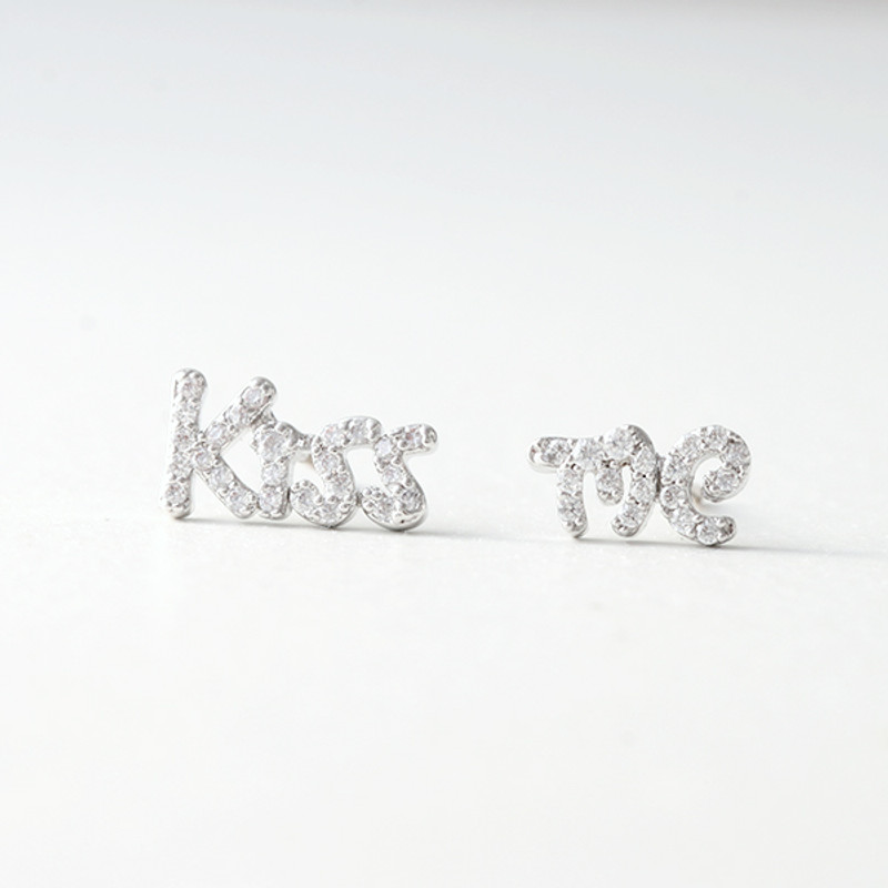 Swarovski White Gold Kiss Me Earrings Studs from kellinsilver.com