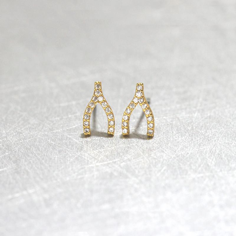 Swarovski Gold Small Wishbone Studs Earrings from kellinsilver.com