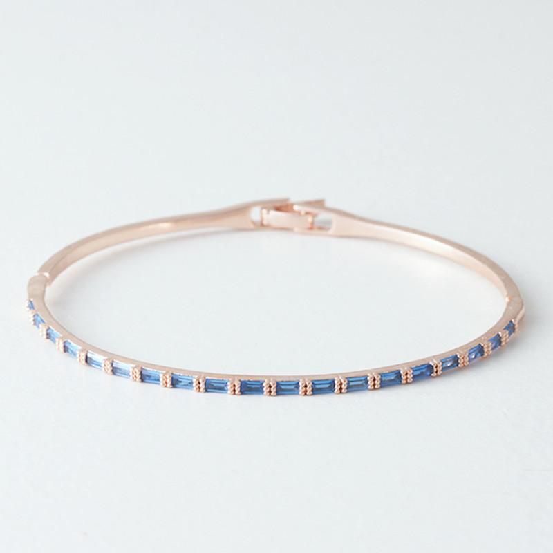 Swarovski Sapphire Rectangle Channel Bracelet Rose Gold Bangle from kellinsilver.com