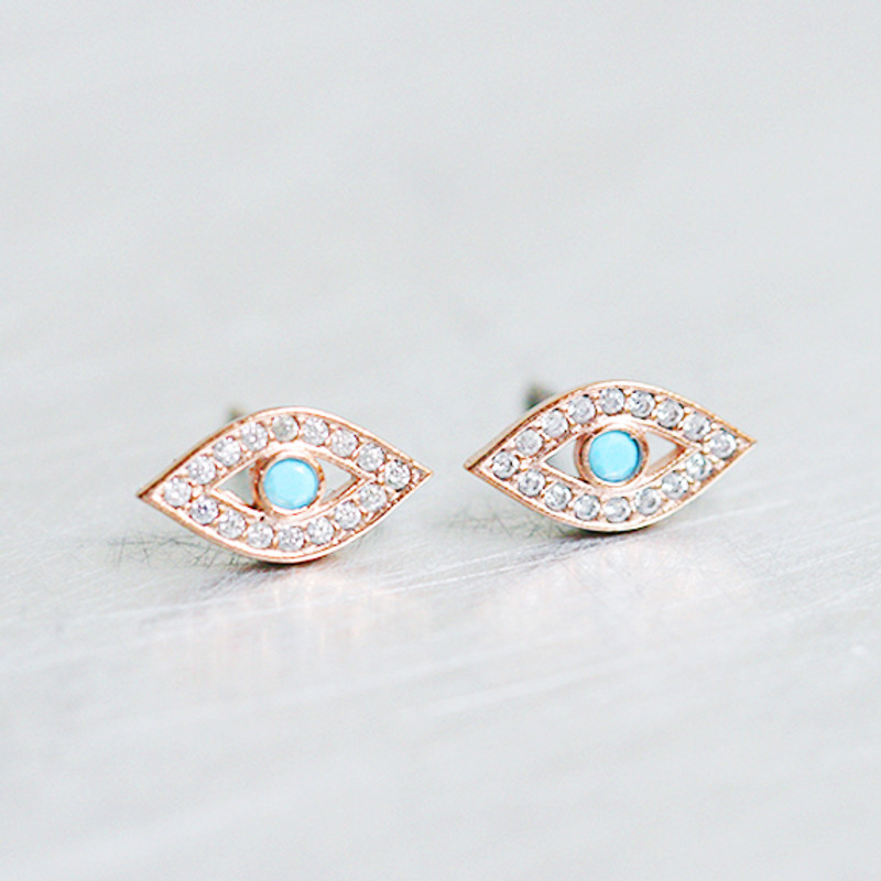 Tiny Turquoise Swarovski Rose Gold Evil Eye Studs Earring Sterling Silver from kellinsilver.com