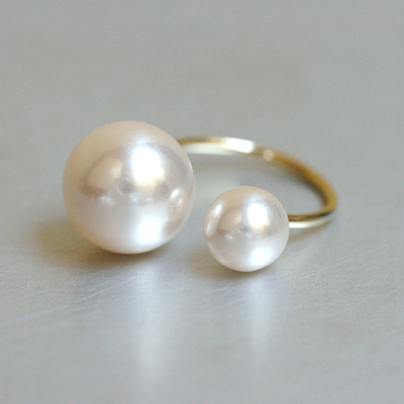 Double Pearl Gold Ring Cuff from kellinsilver.com