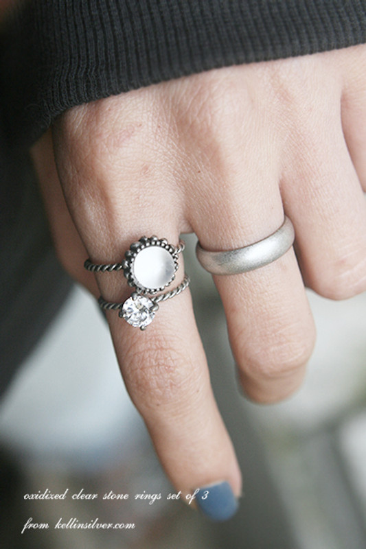 Oxidized Jewelry Clear Stone Ring Pack from kellinsilver.com