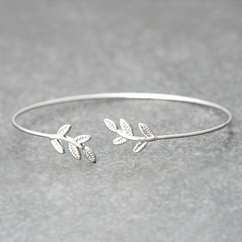 White Gold Baby Leaf Cuff Bracelet from kellinsilver.com