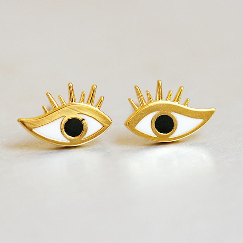 Eyelashes Evil Eye Studs Earring from kellinsilver.com