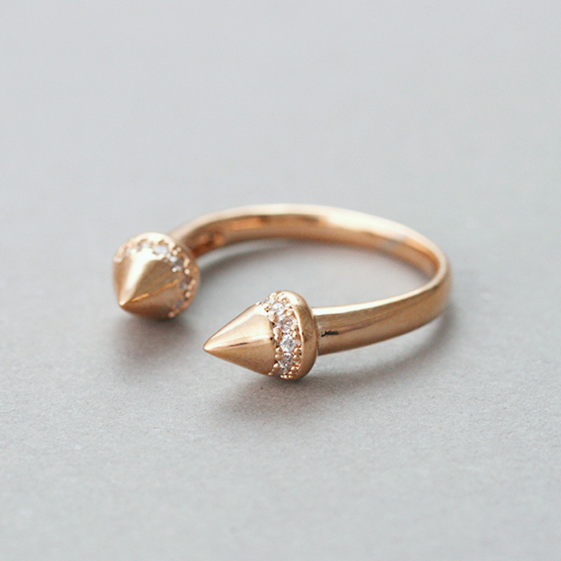 CZ Rose Gold Spike Midi Ring from kellinsilver.com