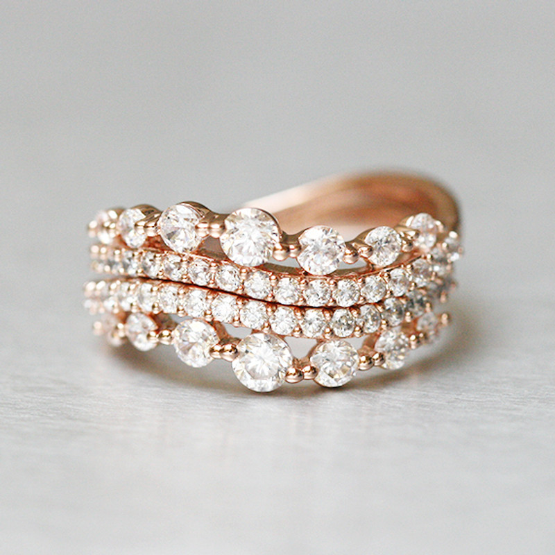 CZ Elegant Rose Gold Wave Tiara Engagement Ring Set Sterling Silver from kellinsilver.com