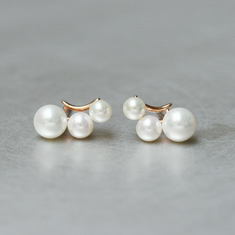 Three Shell Pearl Climber Rose Gold Stud Earrings Sterling Silver from kellinsilver.com