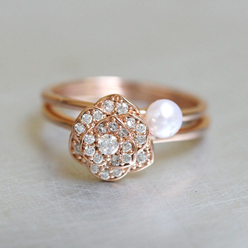 Tiny Button Pearl Rose Gold Solitaire Ring Sterling Silver Stackable Ring from kellinsilver.com