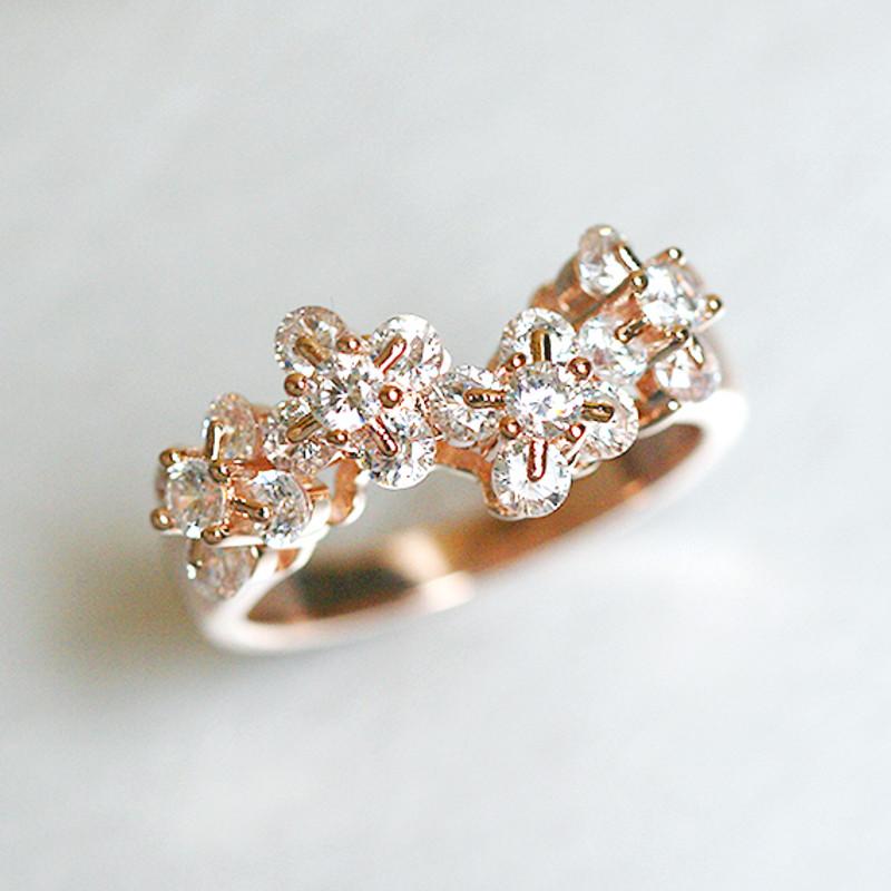 Rose Gold Blossom Wedding Ring Sterling Silver from kellinsilver.com