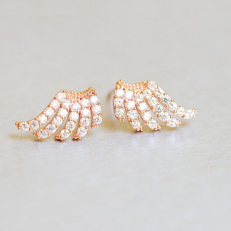 CZ Rose Gold Angel Wing Stud Earrings Sterling Silver