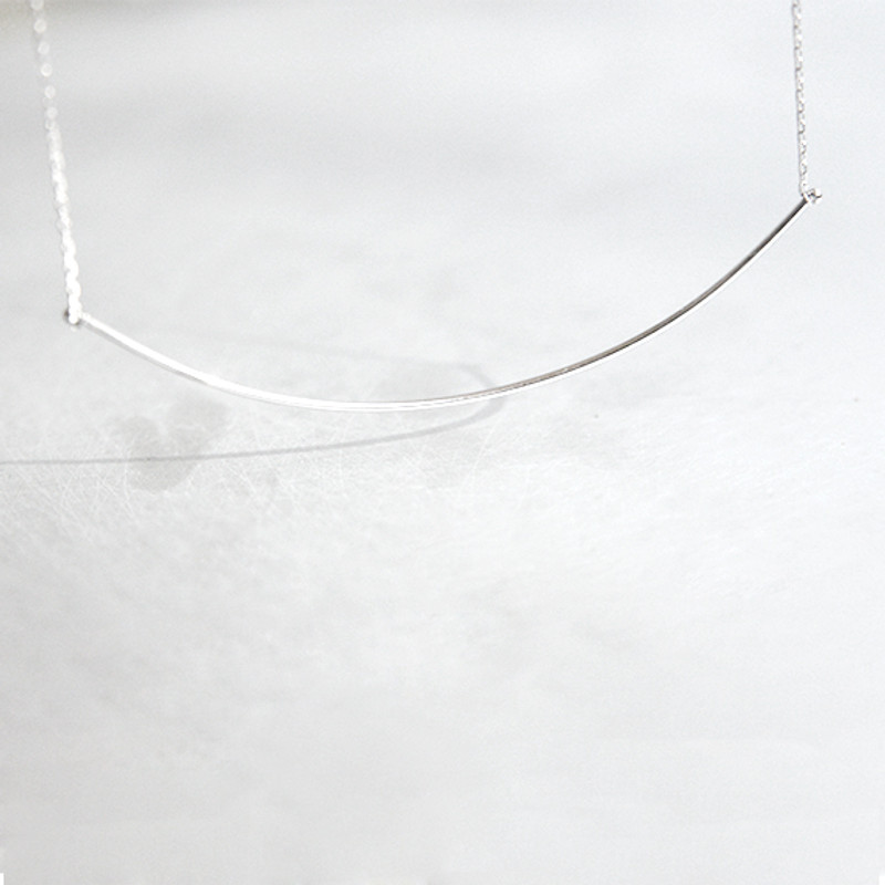 White Gold Very Thin and Long Curved Bar Necklace Sterling Silver from kellinsilver.com