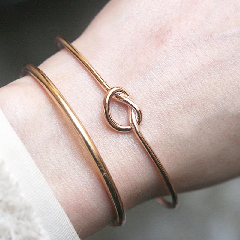 Rose Gold Heart Knot Bracelet Cuff Sterling Silver from kellinsilver.com