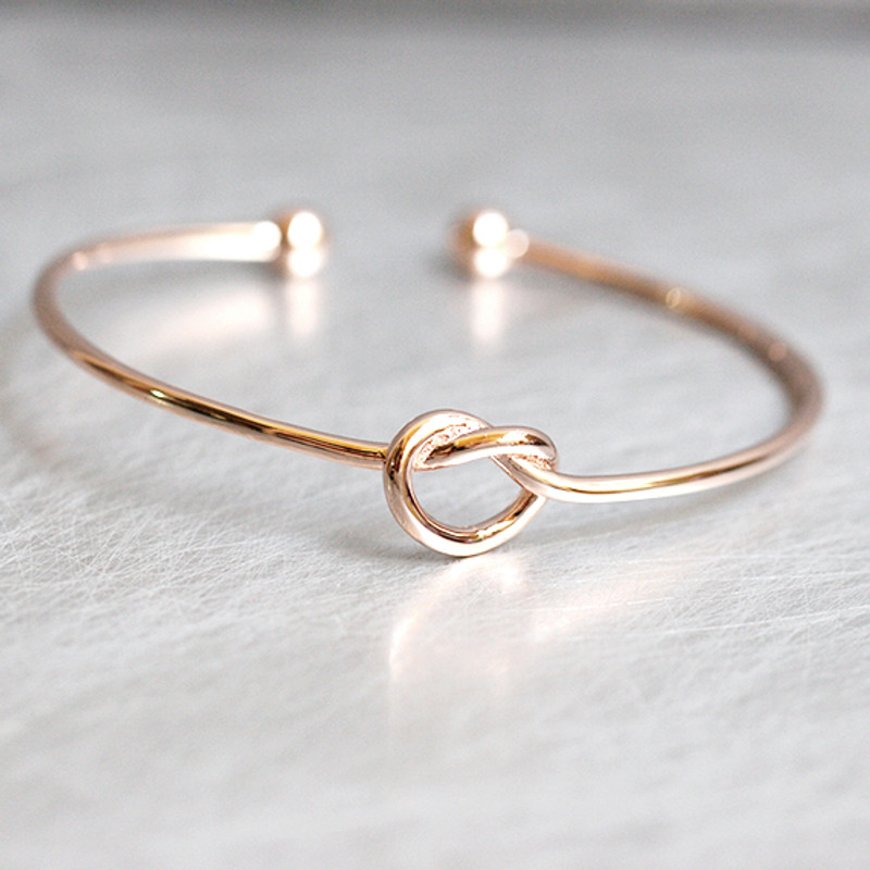 Rose Gold Heart Knot Bracelet Cuff Sterling Silver from kellinsilver.com