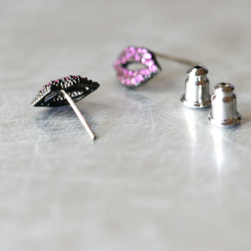 Swarovski Ruby Black Kiss Me Lips Earrings Studs from kellinsilver.com