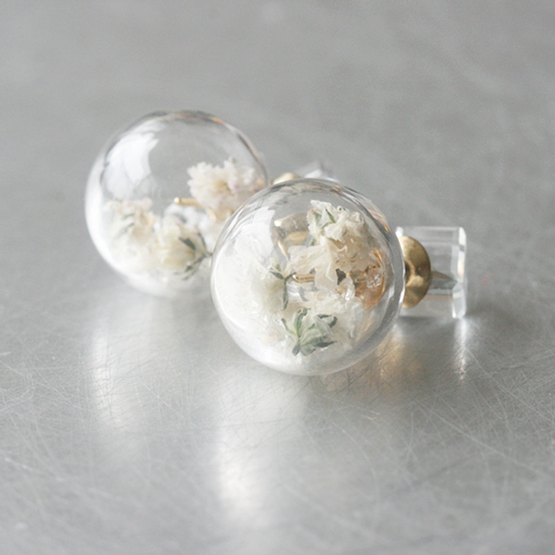 White Cube Real Dry Flower in Ball Double Sided Earrings Stud from kellinsilver.com
