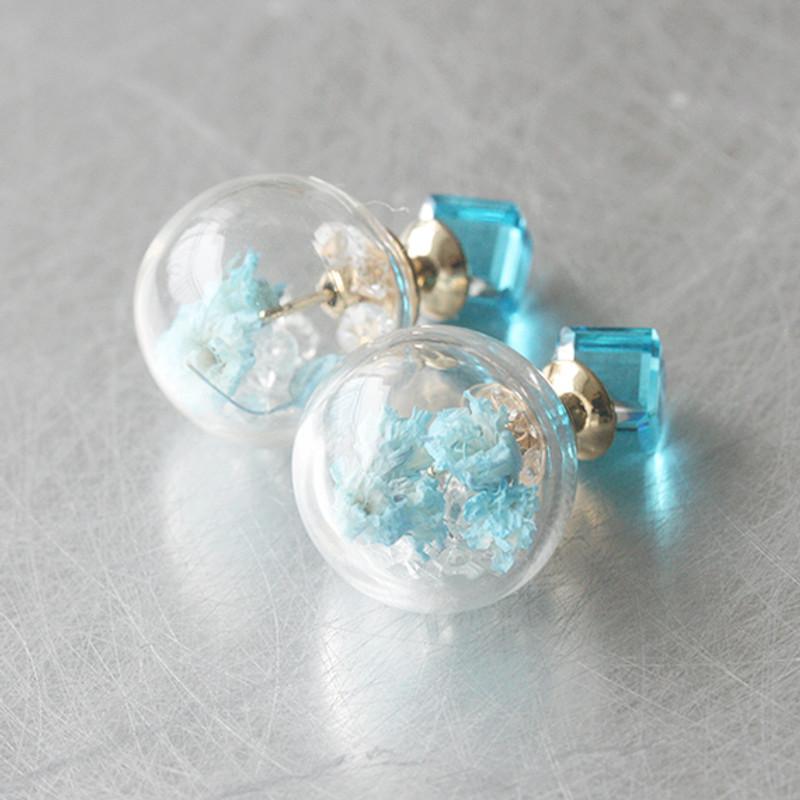 Blue Cube Real Dried Flower in Ball Double Sided Earrings Stud from kellinsilver.com