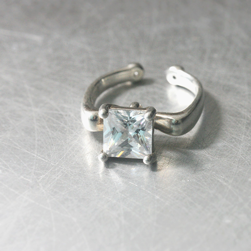 Square CZ Four Claw Engagement Ring Sterling Silver from kellinsilver.com