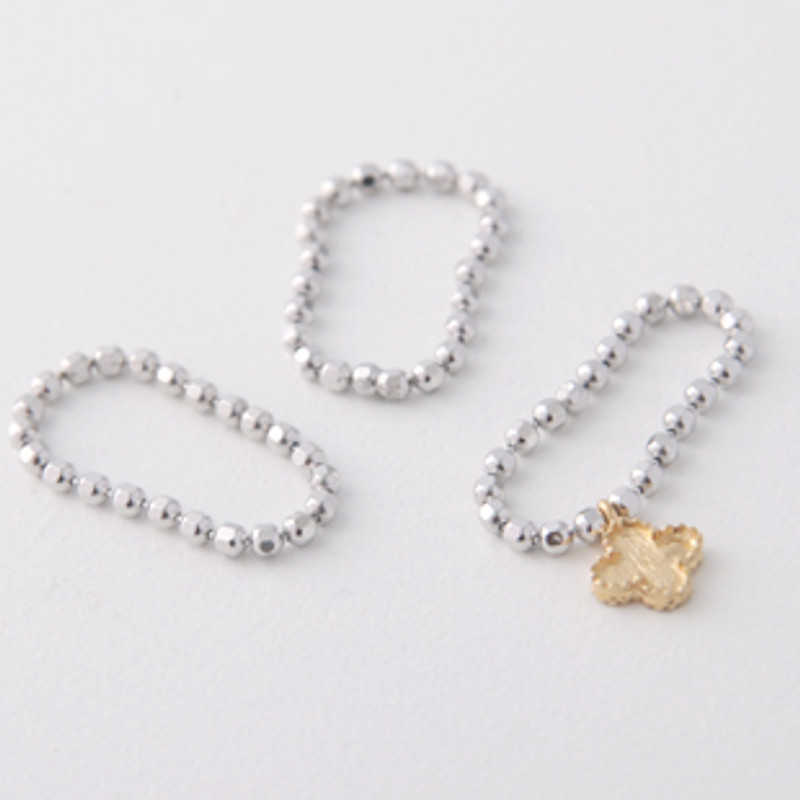 Gold Clover Charm Cutting Ball Chain Stackable Rings Set of 3