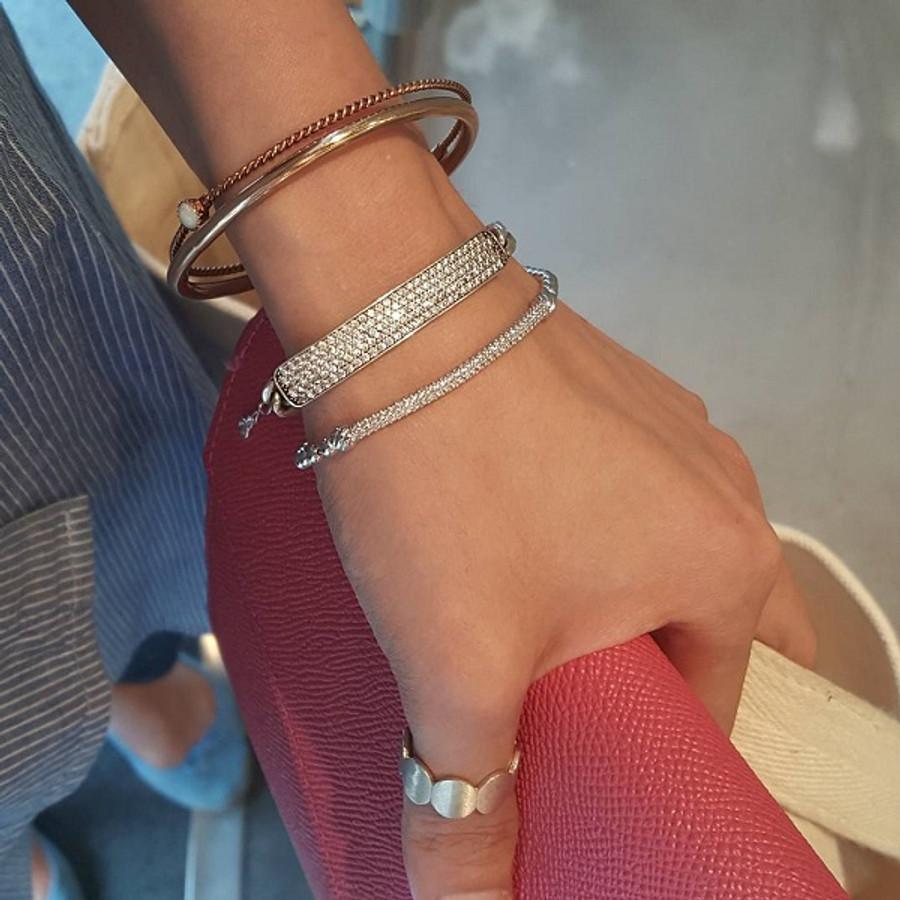 Pave Bar Bold Chain Bracelet Oxidized Sterling Silver from kellinsilver.com
