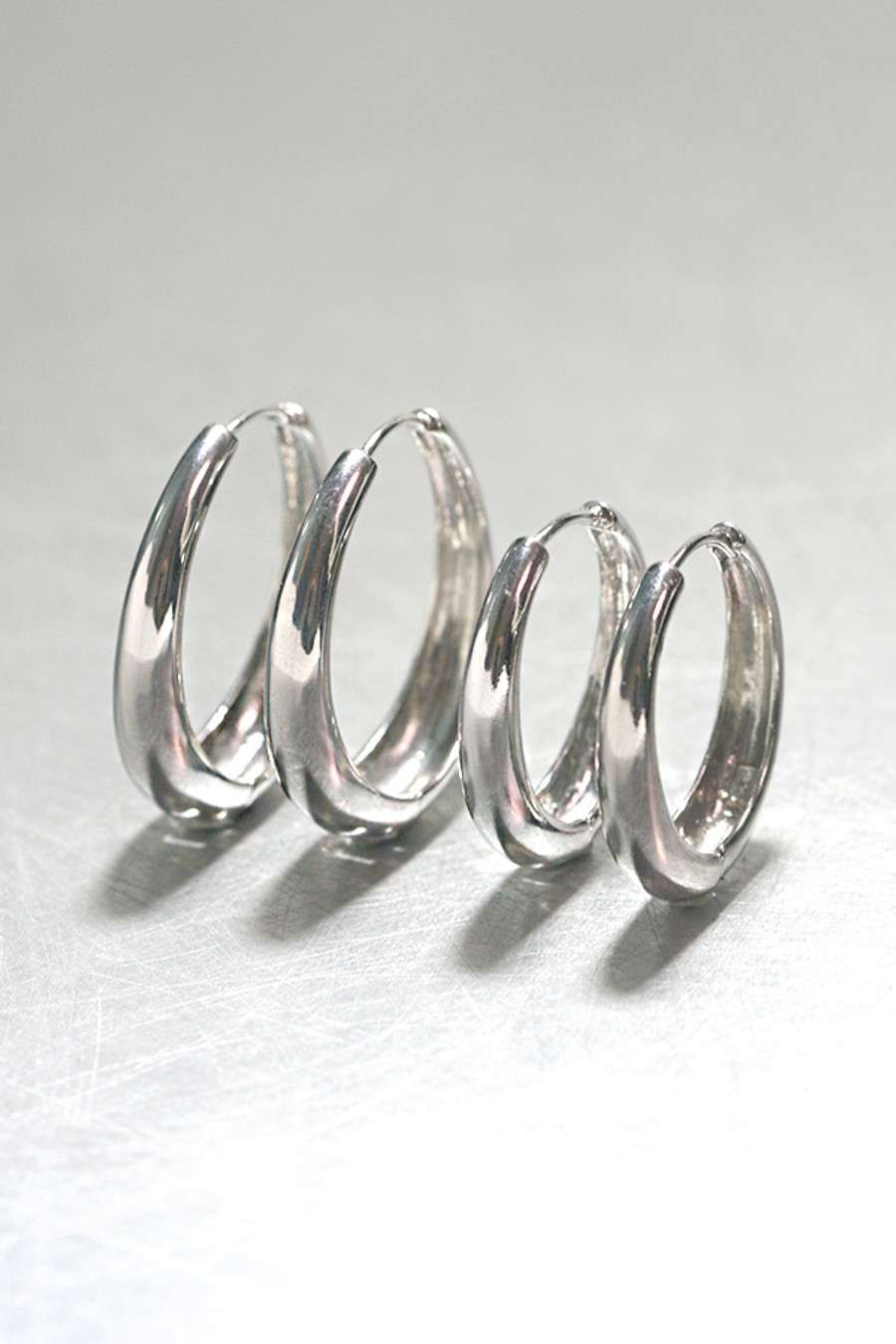 left 30mm, right 25mm - sterling Silver Hinge Oval Hoop Earrings 25mm from kellinsilver.com