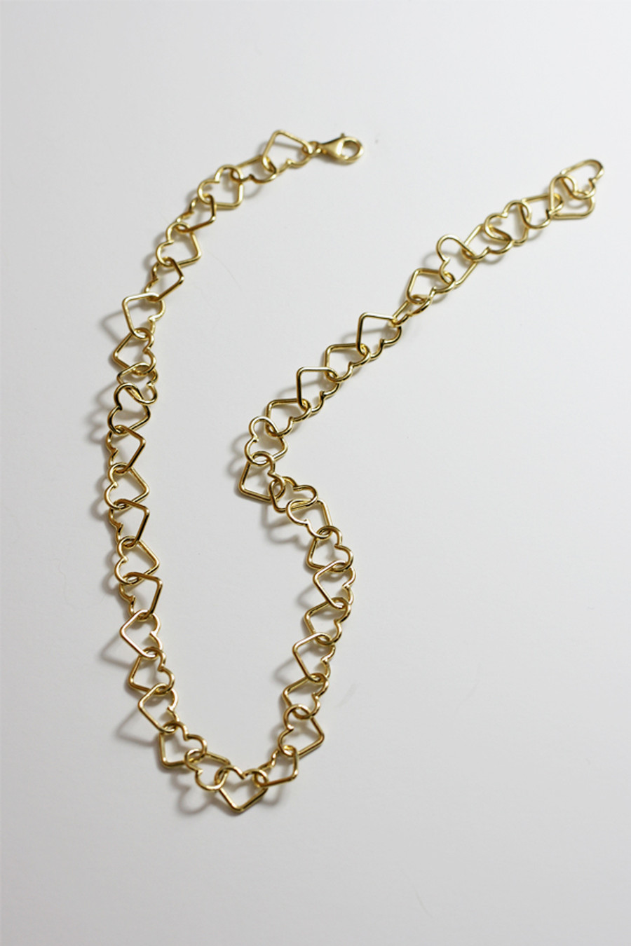 Gold Love Heart Chain Necklace Sterling Silver on kellinsilver.com