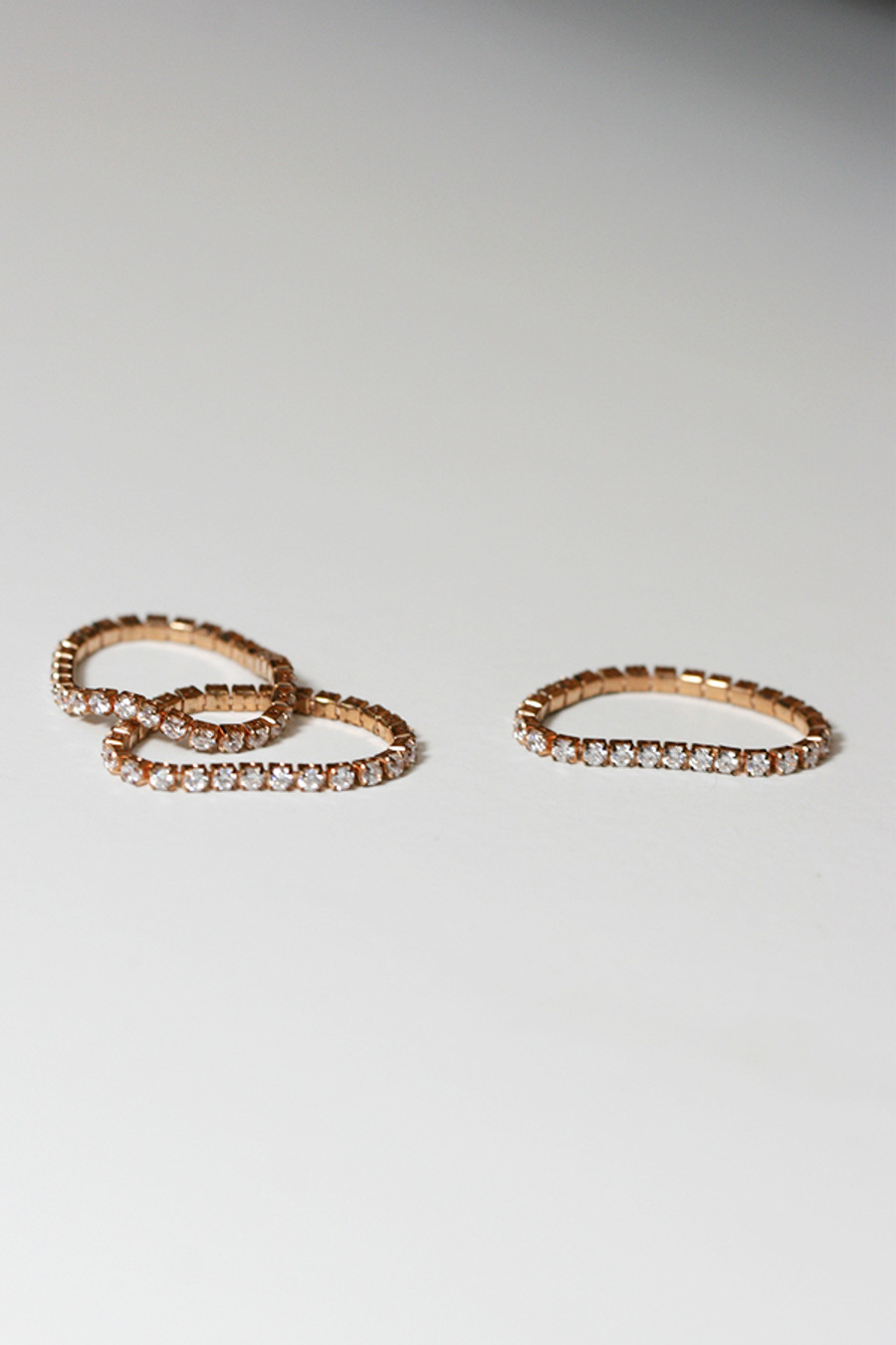 Rose Gold Tennis Chain Stackable Ring Sterling Silver from kellinsilver.com