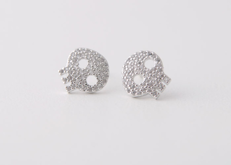 Swarovski White Gold Skull Earrings Studs