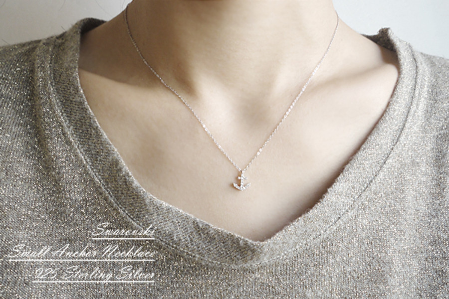 White Gold Swarovski Anchor Necklace Sterling Silver from kellinsilver.com