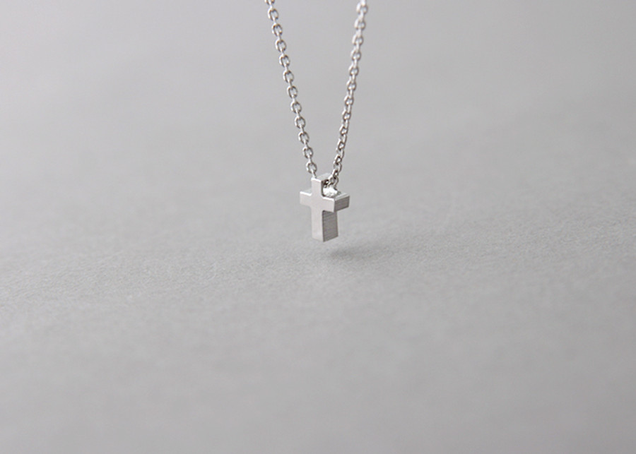 Tiny cross necklace sterling silver kellinsilver tiny cross necklace sterling silver aloadofball Gallery