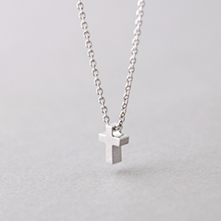 Tiny Cross Necklace Sterling Silver