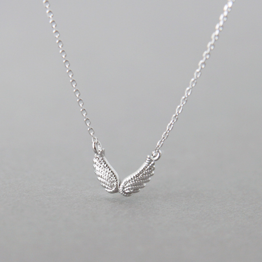 White Gold Double Angel Wing Necklace Sterling Silver from kellinsilver.com