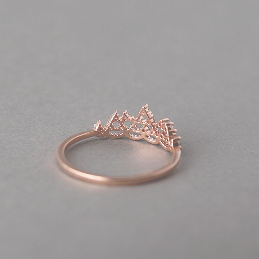 CZ Princess Tiara Ring Rose Gold from kellinsilver.com