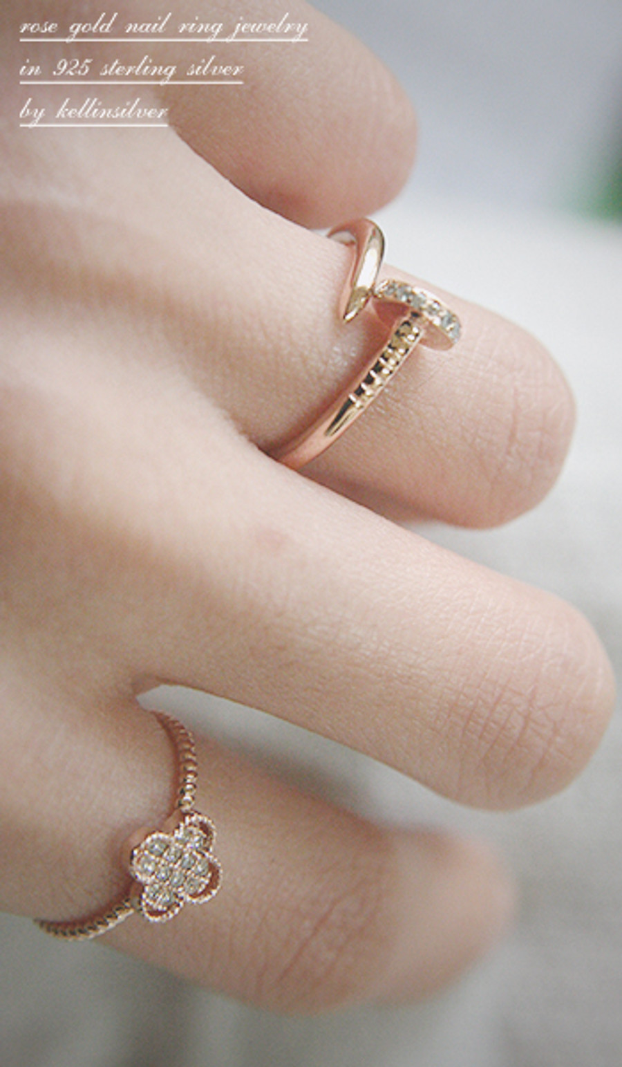 CZ Rose Gold Nail Ring Sterling Silver FROM KELLINSILVER.COM