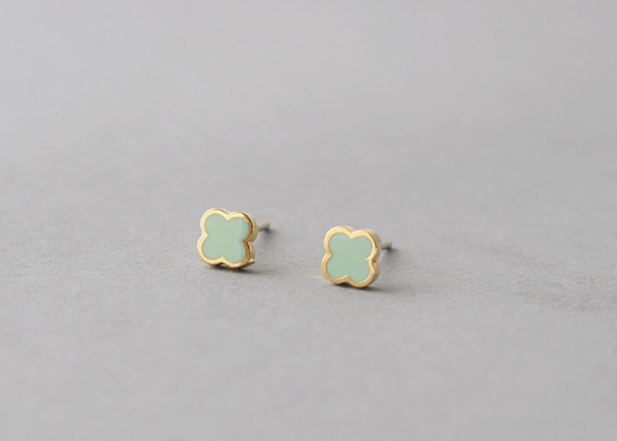 Mint Four Leaf Clover Earrings Studs from kellinsilver.com