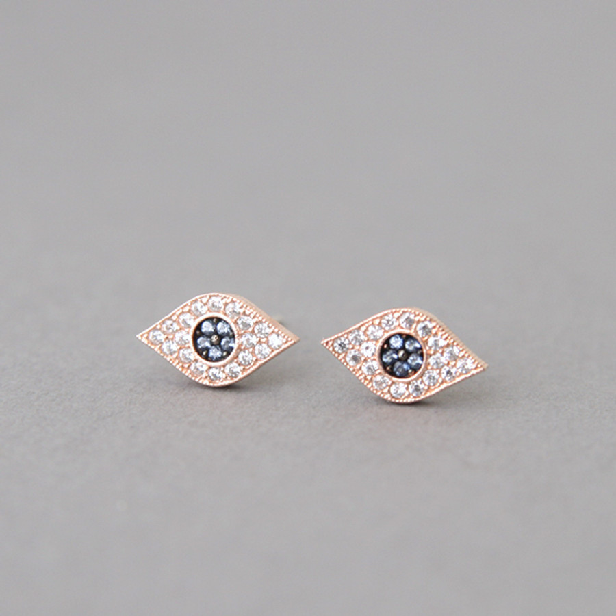 Pave Sapphire Swarovski Evil Eye Stud Earrings Rose Gold