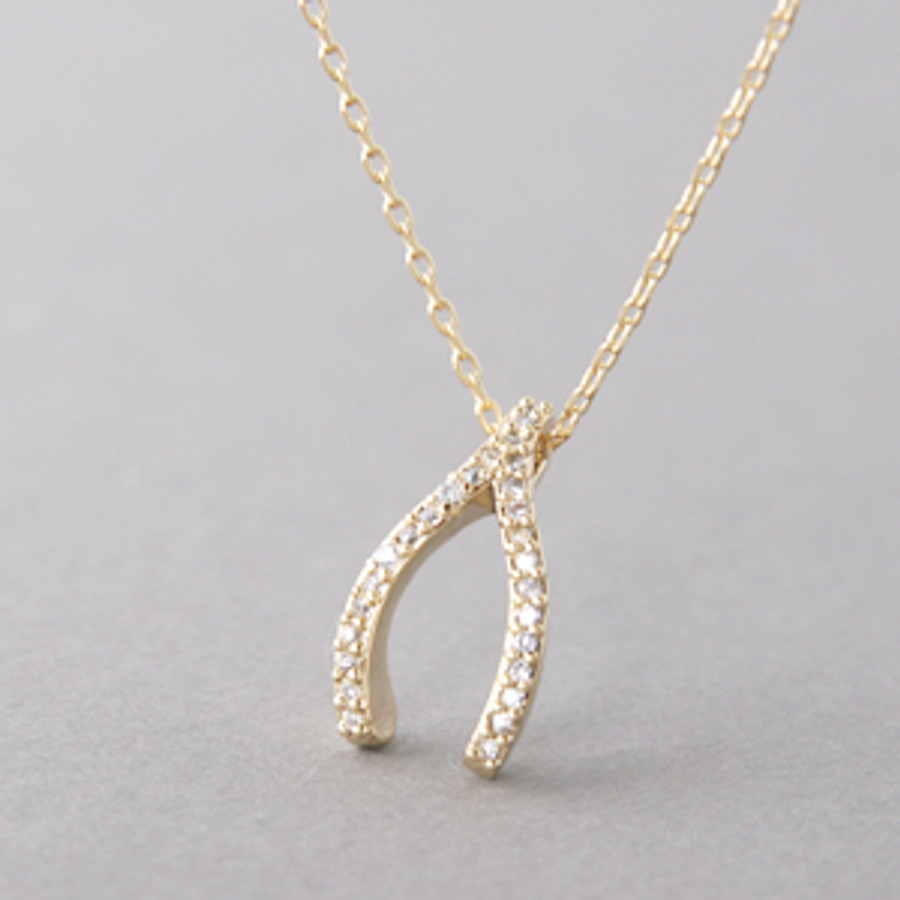 Swarovski yellow gold wishbone necklace sterling silver swarovski yellow gold wishbone necklace sterling silver from kellinsilver aloadofball Image collections