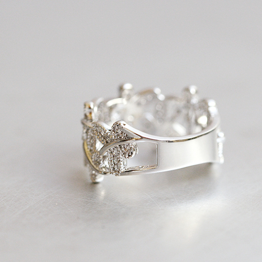 CZ Dragonfly Band Ring White Gold from kellinsilver.com